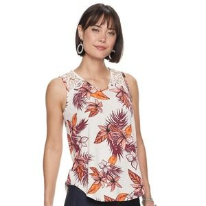 Tropical Summer Tank Top with Lace Trim Women's S